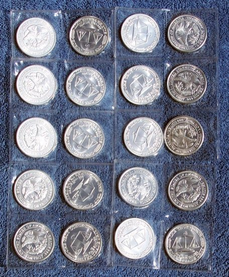 20 - 1 Troy Ounce Silver Uncirculated Northwest Territorial Mint Round Bullion Bars in a mint tube