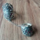 Crown Armenian Double Ring Sterling Silver with Pomegranate Stones