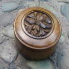 Handmade Armenian Round wooden box decorated with a flower