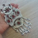 Silver Plated Three Pieces Drop Statement Necklace, Armenian Necklace with Pomegranate Seeds Stones