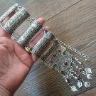 Silver Plated Pomegranate Half Cylinder Long Necklace, Armenian Necklace Pomegranate Stones