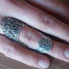 Armenian Articulated Double Ring Sterling Silver with Armenian Alphabet and Heraldic Flower