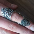 Armenian Articulated Double Ring Sterling Silver with Armenian Alphabet and Eternity Sign