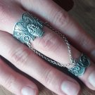 Anahit Armenian Double Ring Sterling Silver, Goddess Anahit Double Ring