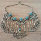 Silver Plated Three Pieces Turquoise Drops Necklace, Armenian Statement Necklace