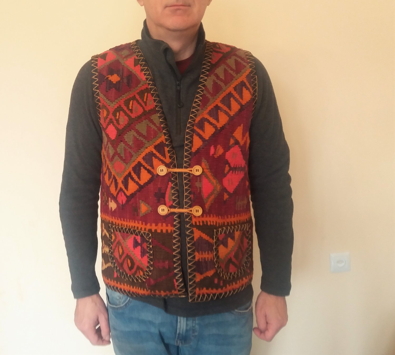 Handmade Embroidery Armenian Vest, Carpet Vest, Traditional Costume, Folk Taraz Clothes