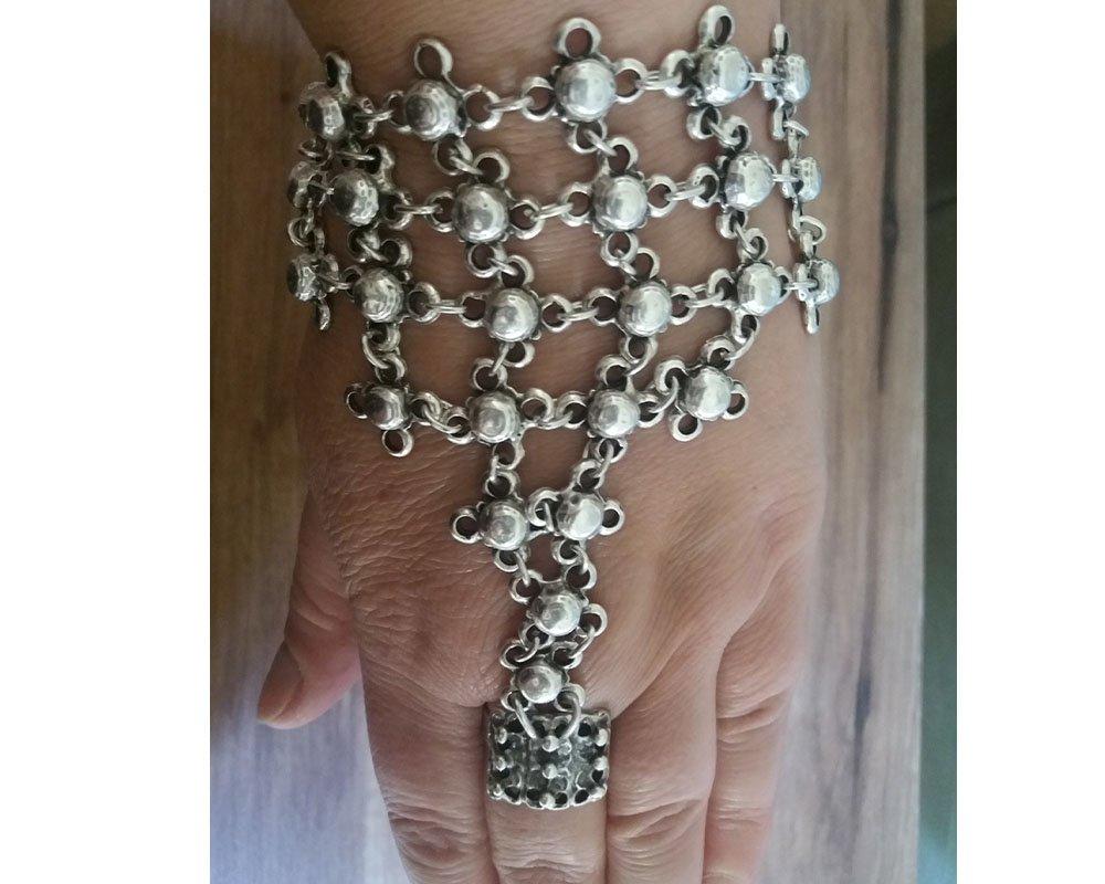 Armenian Ring Bracelet, Bracelet Hand Chain, Hand Harness, Slave Bracelet, Ethnic Ring Bracelet