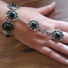 Armenian Ring Bracelet with Black Onyx Stones, Bracelet Hand Chain