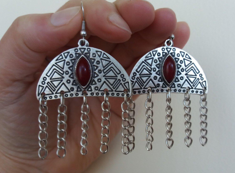 Armenian Half Circle Dangle Drop Earrings with Pomegranate Seeds Stone