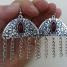 Armenian Half Circle Dangle Drop Earrings with Pomegranate Seeds Stone