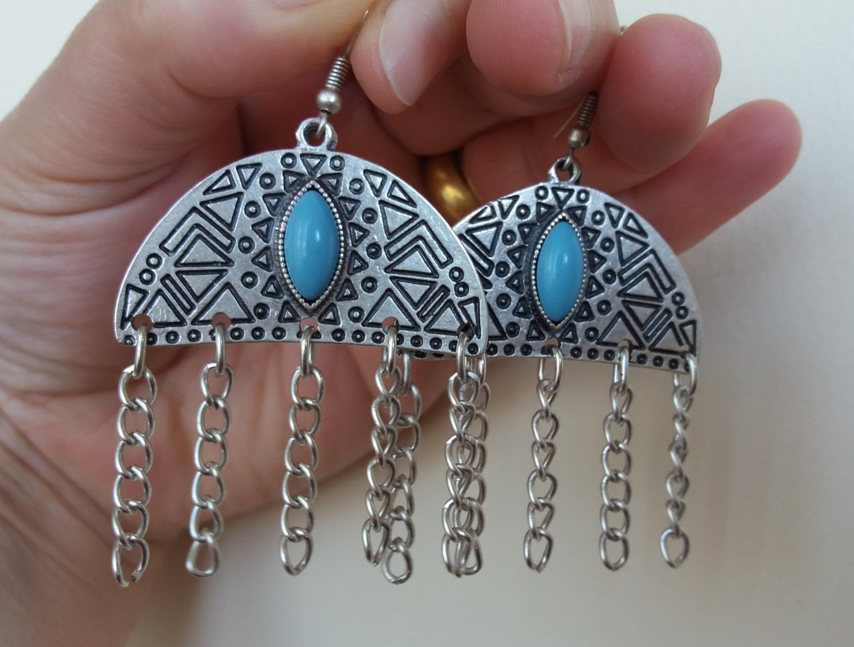 Armenian Half Circle Dangle Drop Earrings with Turquoise Stone