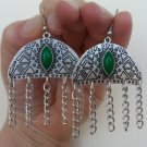 Armenian Half Circle Dangle Drop Earrings with Chrysolite Stone