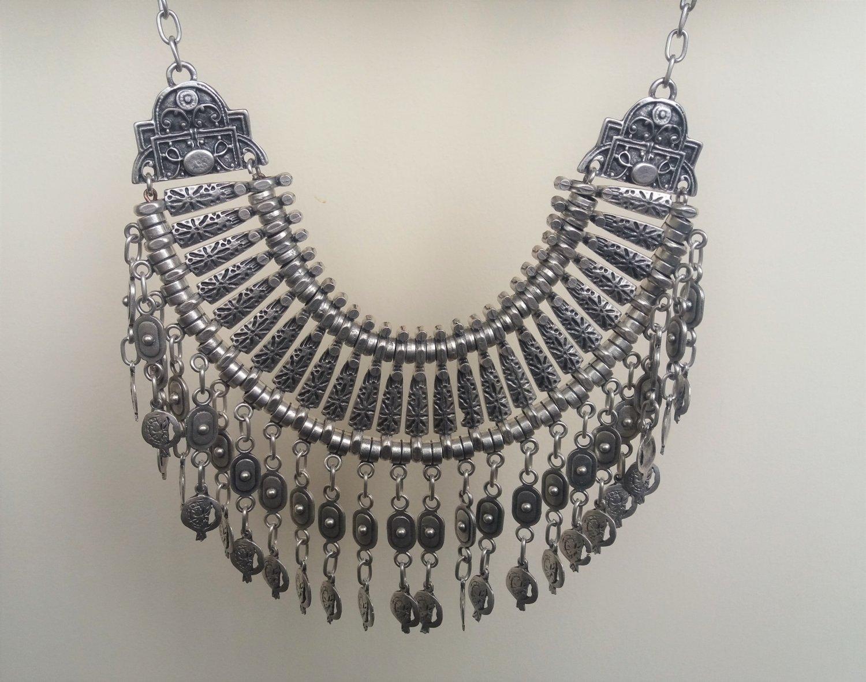 Haft Moon Pomegranate Drop Coin Statement Necklace, Armenian Pomegranate Necklace