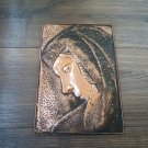 Vintage Embossed Copper Wall Decoration of the Portrait of an Armenian Woman, Chekanka