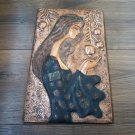 Vintage Embossed Copper Wall Decoration of a Woman and Pomegranate Tree, Chekanka