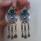 Armenian Circle Dangle Drop Earrings with Chrysolite, Ethnic Drop Earrings