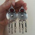Armenian Circle Dangle Drop Earrings with Pomegranate Stone, Ethnic Boho Hippie Drop Dangle Earrings