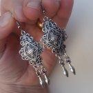 Armenian Diamond Dangle Earrings Silver Plated, Ethnic Dangle Earrings, Boho Hippie Dangle Earrings