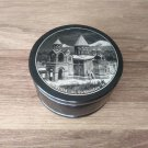 Obsidian round box made in Armenia with Etchmiadzin Cathedral & Mount Ararat