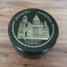 Obsidian round jewelry box made in Armenia with Etchmiadzin Cathedral