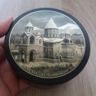 Obsidian round jewelry box made in Armenia with Etchmiadzin Cathedral and Mount Ararat