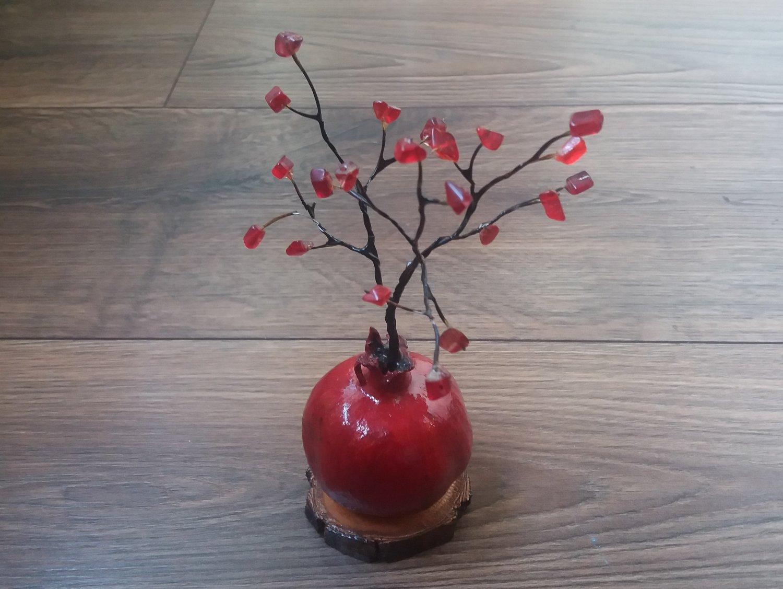 Red Quartz Fertility and Good Fortune Pomegranate Tree