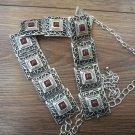 Armenian Armor Link Belt with Pomegranate Seeds Stone, Ethnic Belt, Belly Dancer Belt