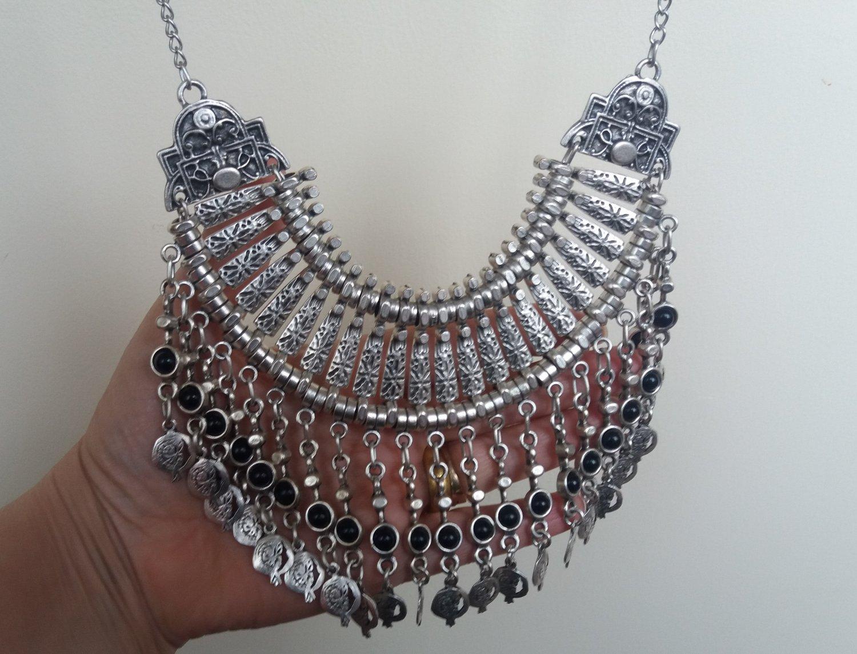 Haft Moon Lazurite Pomegranate Drop Coin Statement Necklace, Armenian Pomegranate Necklace