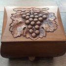 Handmade Armenian Wooden Box with Drawer and Decorated with Grapes