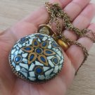 Perfume Mosaic Nacre and Azurite Gemstones Bottle Pendant Necklace, Perfume Flask Necklace