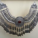 Silver Plated Sun Drop Coin Anahit Necklace, Sun Armenian Necklace with Pomegranate Seeds Stone