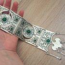 Silver Plated Long Ethnic Statement Necklace, Armenian Statement Necklace with Chrysolite Stones