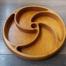 Handmade Sectional Round Armenian Wooden Serving Tray, Snack Sets Separated Serving Dish