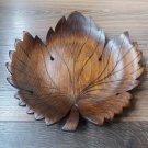 Decorative Armenian Beech Carved Leaf Plate, Handmade Leaf Dish