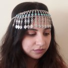 Turquoise Pomegranate Forehead Silver Plated Drop, Armenian Headpieces Drop