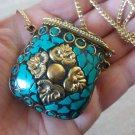 Basket Turquoise Mosaic Gemstone Pendant Necklace, Colorful Basket Necklace