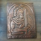 Vintage Embossed Copper Wall Decoration of Vardan Mamikonyan, Armenian Military Hero, Chekanka
