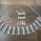 Armenian Half Cylinder Link Belt and Tears Drop Necklace, Ethnic Belt, Belly Dancer Belt