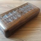 Handmade Armenian Wooden Box with Eternity Sign and Symbols, Long Wooden Box