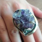 Handmade Armenian Amethysts Ring, Raw Amethysts Ring, Sterling Silver Ring