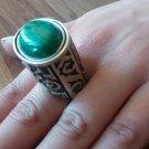 Handmade Armenian Kuchi Style Ring, Sterling Silver Ring, Malachite and Sardonyx Stone Ring