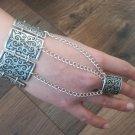 Silver Plated Armor Link Ring Bracelet, Armenian Bracelet Hand Chain, Hand Harness,