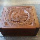 Handmade Armenian Wooden Box with Ancient Pagan Bird and Eternity Sign, Armenian Box