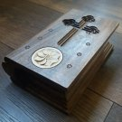 Decorative Wooden Bible with Eternity Sign, Secret Bible, Home Decor