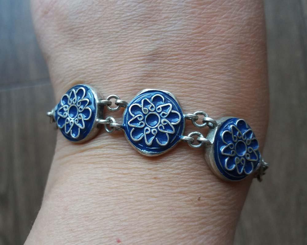 Armenian Sterling Silver Enamel Ethnic Bracelet