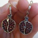 Dangle Armenian Pomegranate Earrings in Sterling Silver, Armenian Earrings.