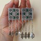Armenian Square Chrysolite Dangle Drop Pomegranate Earrings, Ethnic Drop Earrings