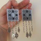 Armenian Square Black Onyx Dangle Drop Pomegranate Earrings, Ethnic Drop Earrings