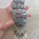Silver Plated Anahit Half Cylinder Long Ethnic Statement Necklace, Armenian Statement Necklace