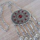 Silver Plated Sun Drop Pomegranate Coin Statement Necklace, Armenian Sun Necklace